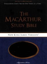 NKJV MacArthur Study Bible--soft leather-look, gray