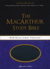 NKJV MacArthur Study Bible, Leathersoft, Raven, Thumb  Indexed  - Slightly Imperfect