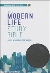 NKJV Modern Life Study Bible, Leathersoft, black/gray
