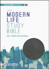 NKJV Modern Life Study Bible, Leathersoft, black/gray, indexed