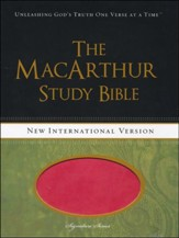NIV MacArthur Study Bible Leathersoft, Sunset Pink, Thumb Indexed
