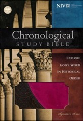 NIV Chronological Study Bible, Leathersoft, brown/berry - Slightly Imperfect