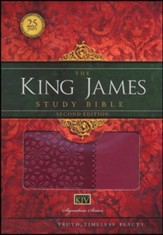 King James Study Bible, Second Edition, Leathersoft, Cranberry--indexed - Slightly Imperfect
