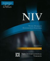 NIV Wide Margin Reference Bible, black calfsplit leather, red letter text
