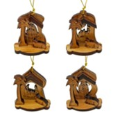 Olive Wood Nativity Ornaments, Set of 4