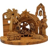 Olive Wood Nativity Grotto, Medium
