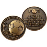 Soccer, Challenge Coin, Philippians 4:13