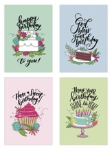 Cakes Birthday Cards, Box of 12