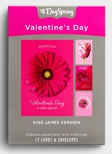 Pink Flowers Valentine Cards, Box of 12