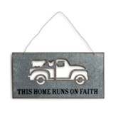 This Home Runs on Faith, Pick-up Truck, Farm Animals, Metal Decor
