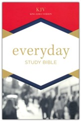KJV Everyday Study Bible--soft  leather-look, navy blue with cross