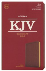 KJV Deluxe Gift Bible--soft  leather-look, brown