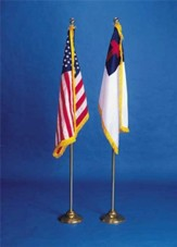 American and Christian Flag Set with Stands