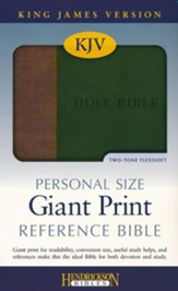 KJV Personal Size Giant Print Reference Bible, imitation  leather, brown/green - Imperfectly Imprinted Bibles