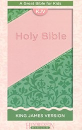 KJV Holy Bible for Kids, imitation leather pink/green