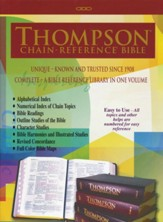 KJV Thompson Chain-Reference Bible, Large Print, Black  Genuine  Leather, Capri Grain, Thumb-Indexed - Imperfectly Imprinted Bibles