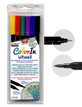 MARVY, LePlume II Double-Ended Watercolor Markers, Primary Colors, Pack of 6