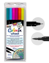 MARVY, LePlume II Double-Ended  Watercolor Markers, Bright Colors, Pack of 6