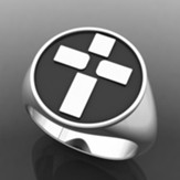 Men's Cross Ring, Sterling Silver, Size 10