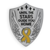 Until the Stars Guide You Home, Yellow Ribbon, Shield Lapel Pin, Silver