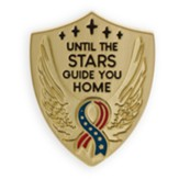 Until the Stars Guide You Home, Stars and Stripes Ribbon, Shield Lapel Pin, Gold