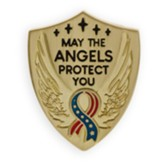 May the Angels Protect You, Stars and Stripes Ribbon, Shield Lapel Pin, Gold