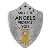 May the Angels Protect You, Yellow Ribbon, Shield Visor Clip, Silver