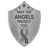 May the Angels Protect You, Stars and Stripes Ribbon, Shield Visor Clip, Silver