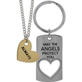 May the Angels Protect You Keyring, Always Heart Pendant Set