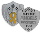 May the Angels Protect You, Yellow Ribbon, Shield Token, Silver