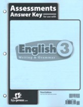 BJU Press English Grade 3 Assessments Answer Key (3rd  Edition)