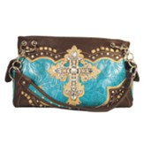 Cross Purse, Turquoise and Brown