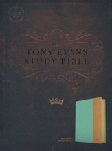 CSB Tony Evans Study Bible--soft leather-look, teal/earth