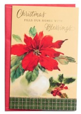 Christmas Fills Our Homes with Blessings, Poinsettia, Christmas Cards, Box of 18