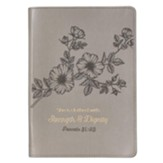 She Is Clothed with Strength and Dignity Slimline Journal, Gray