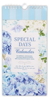 Special Days and Occasion Reminder Calendar, Blue