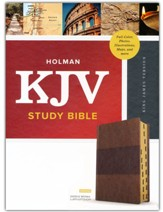 KJV Study Bible, Full-Color--soft leather-look, saddle brown (indexed)