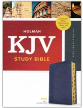 KJV Study Bible, Full-Color--soft leather-look, navy blue (indexed)