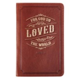 For God So Loved the World Handy Journal, Genuine Leather, Brown