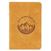Faith Can Move Mountains Pocket Journal, Genuine Leather, Tan