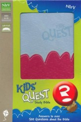 NIrV Kids' Quest Study Bible: Real Questions, Real Answers, Italian Duo-Tone, Light Blue/Hot Pink
