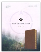 CSB Men of Character Bible--genuine leather, brown (indexed)
