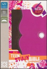 NIV Teen Study Bible Compact, Italian Duo-Tone, Chocolate/Raspberry