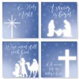 Christmas, Blue, Coasters, Set of 4