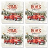 Christmas, Truck, Coasters, Set of 4