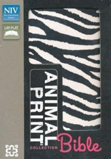 NIV Animal-Print Collection Bible, Italian Duo-Tone, Elastic Closure, Zebra/Pink