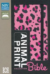 NIV Animal-Print Collection Bible, Italian Duo-Tone, Elastic Closure, Leopard/Pink