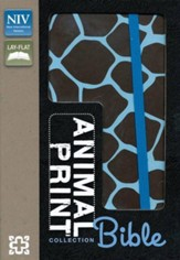 NIV Animal-Print Collection Bible, Italian Duo-Tone, Elastic Closure, Giraffe/Aqua