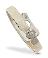 Buckle With Cross Leather Wrap Bracelet, Tan And Silver