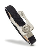 Buckle With Cross Leather Wrap Bracelet, Gray And Silver
